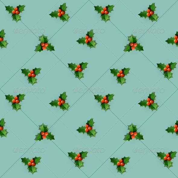 GraphicRiver Seamless Holly Berry with Christmas Leaves 5999877