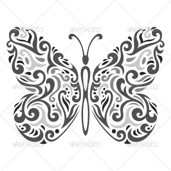 GraphicRiver Abstract Mehndi Butterfly Vector Illustration 5999991
