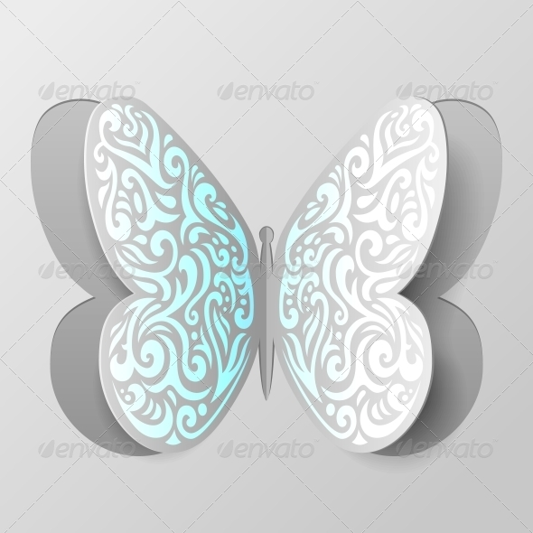 GraphicRiver Abstract Paper Butterfly with Tribal Ornament 5999995