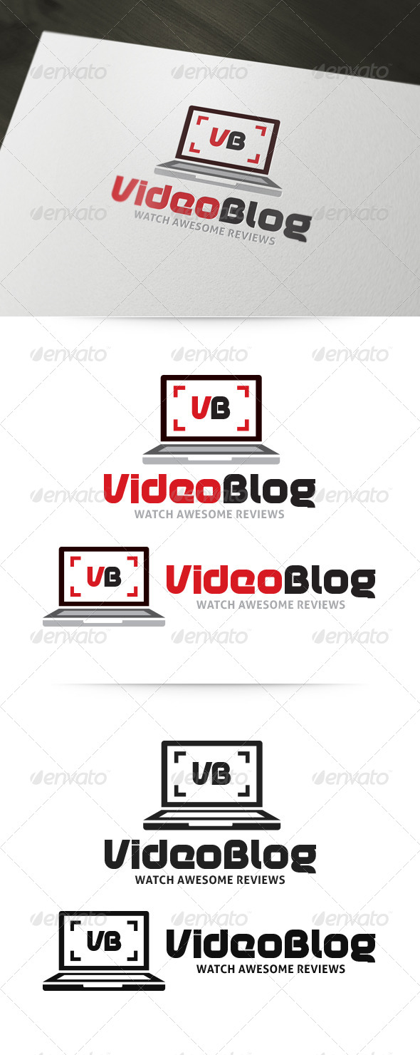 GraphicRiver Video Blog Laptop Logo 6000123