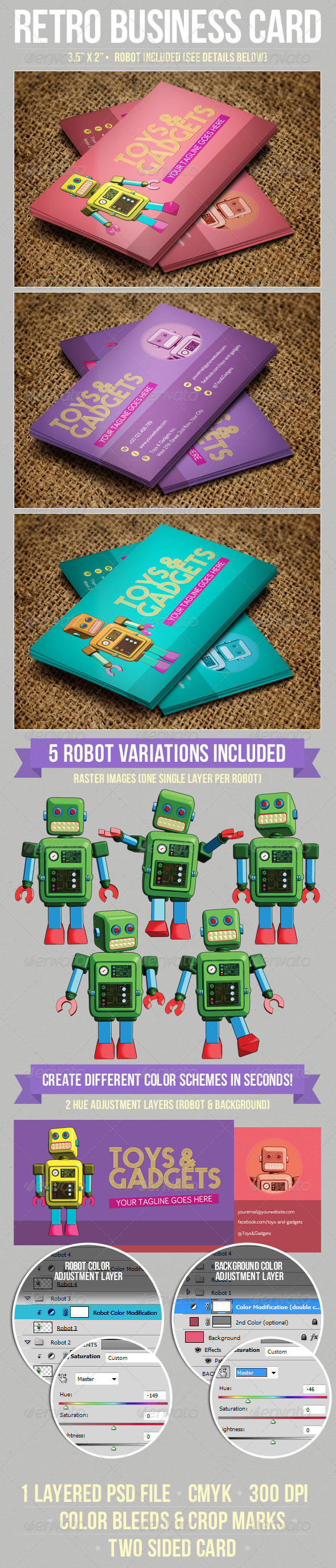 GraphicRiver Retro Robot Business Card 6000178