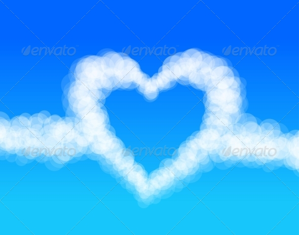 Cloud Heart on Sky Background Vector