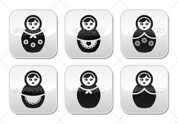 GraphicRiver Russian Doll Retro Matrioshka Vector Buttons Set 6000508
