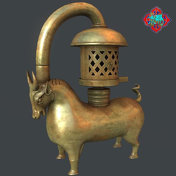 3DOcean Bronze Bull lamp 6000509