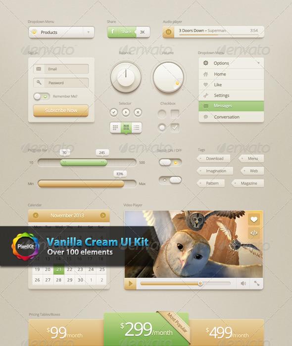 GraphicRiver Vanilla Cream UI Kit 6000510