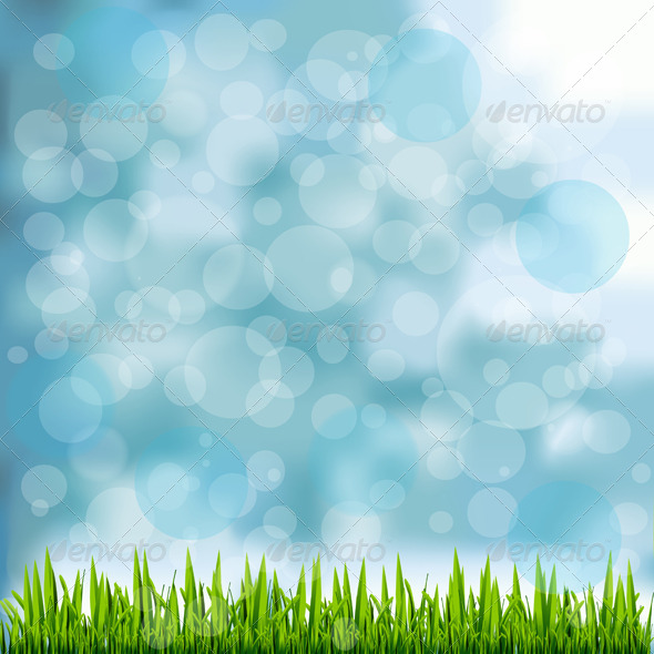GraphicRiver Grass Border on Natural Blue Background 5991616