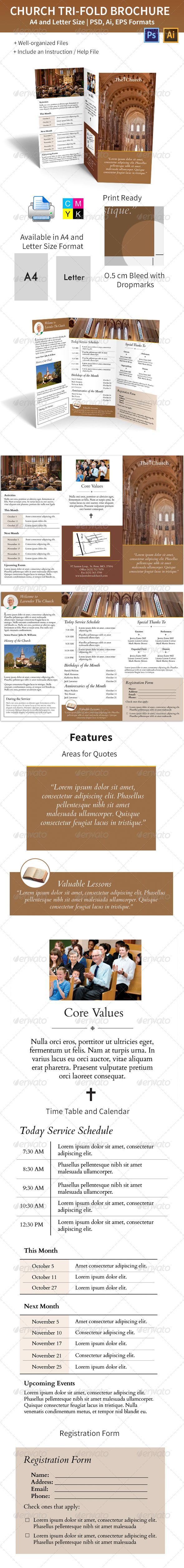 GraphicRiver Church Trifold Brochure A4 and Letter Size 5971834
