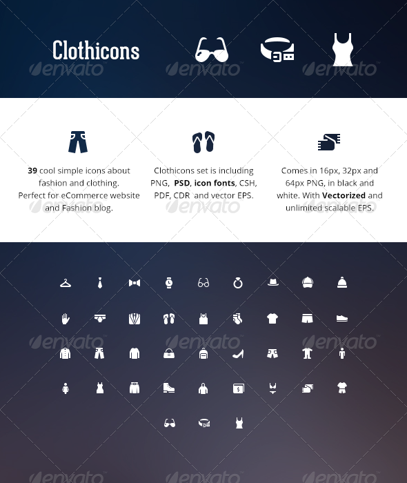 GraphicRiver Clothicons Fashion Icon Pack 5989594