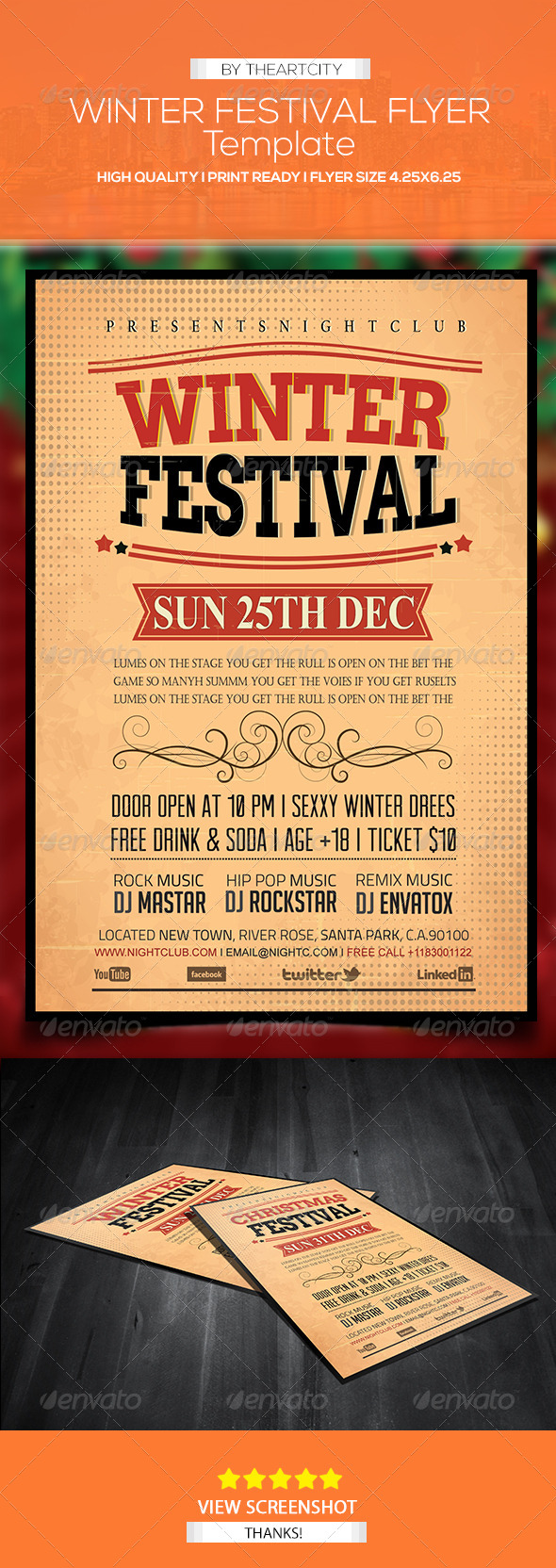 GraphicRiver Vintage Winter & Christmas Festival Flyer 5980121