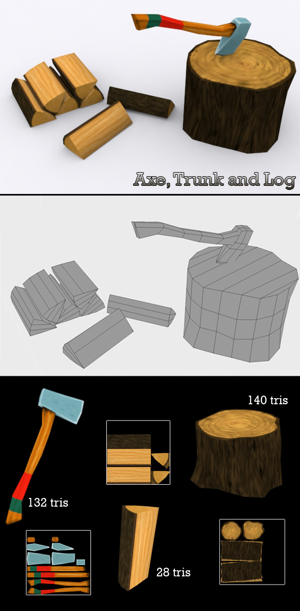 3DOcean Low Poly Axe Trunk and Log 6002566