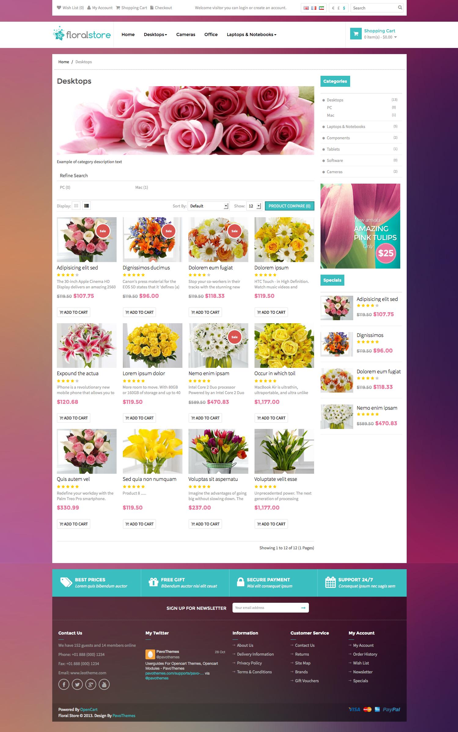 Pav Floral Responsive Opencart Theme
