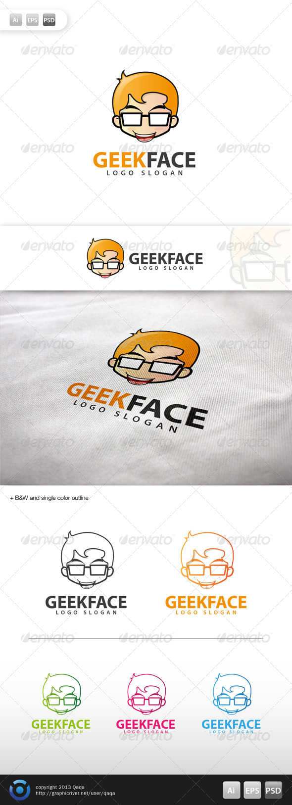 GraphicRiver Geek Face Logo 04 6002785