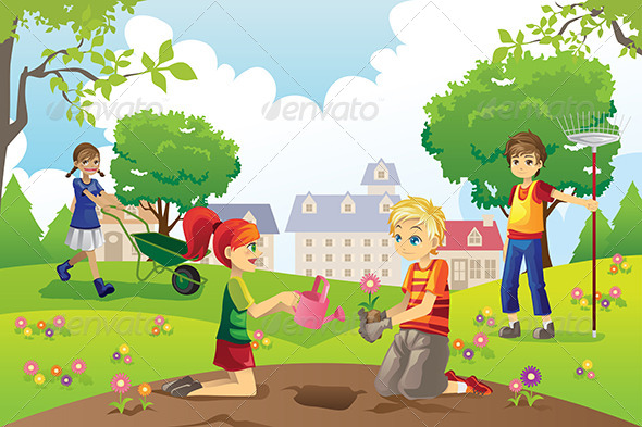 GraphicRiver Gardening Kids 6002798
