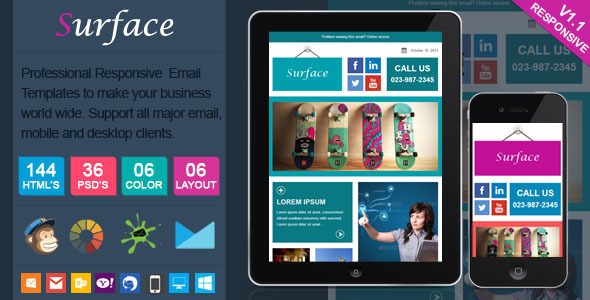 ThemeForest Surface Colorful Responsive Email Template 6002811