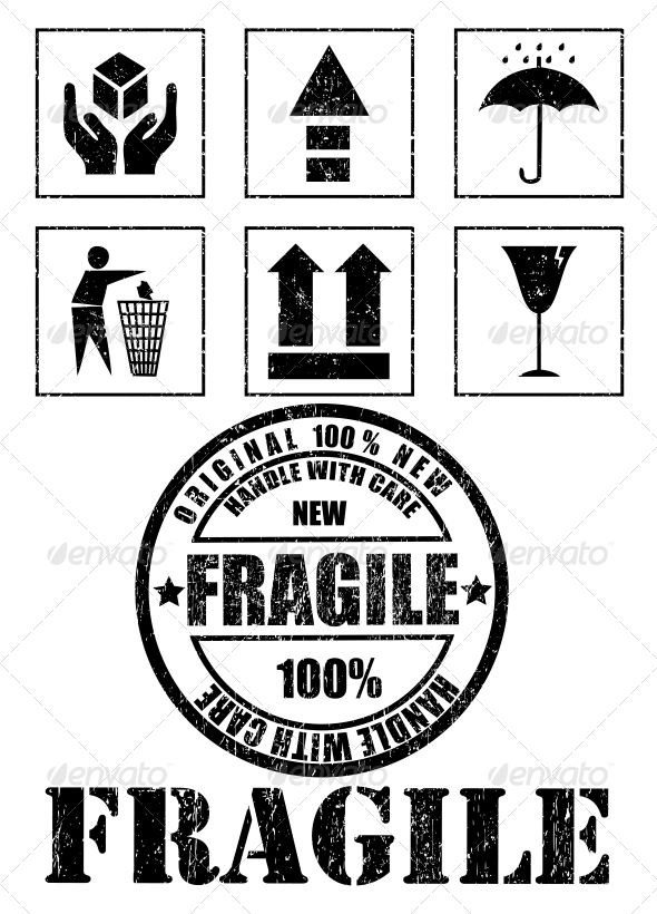 GraphicRiver Safety Fragile Signs and Stamp Vector 6002812