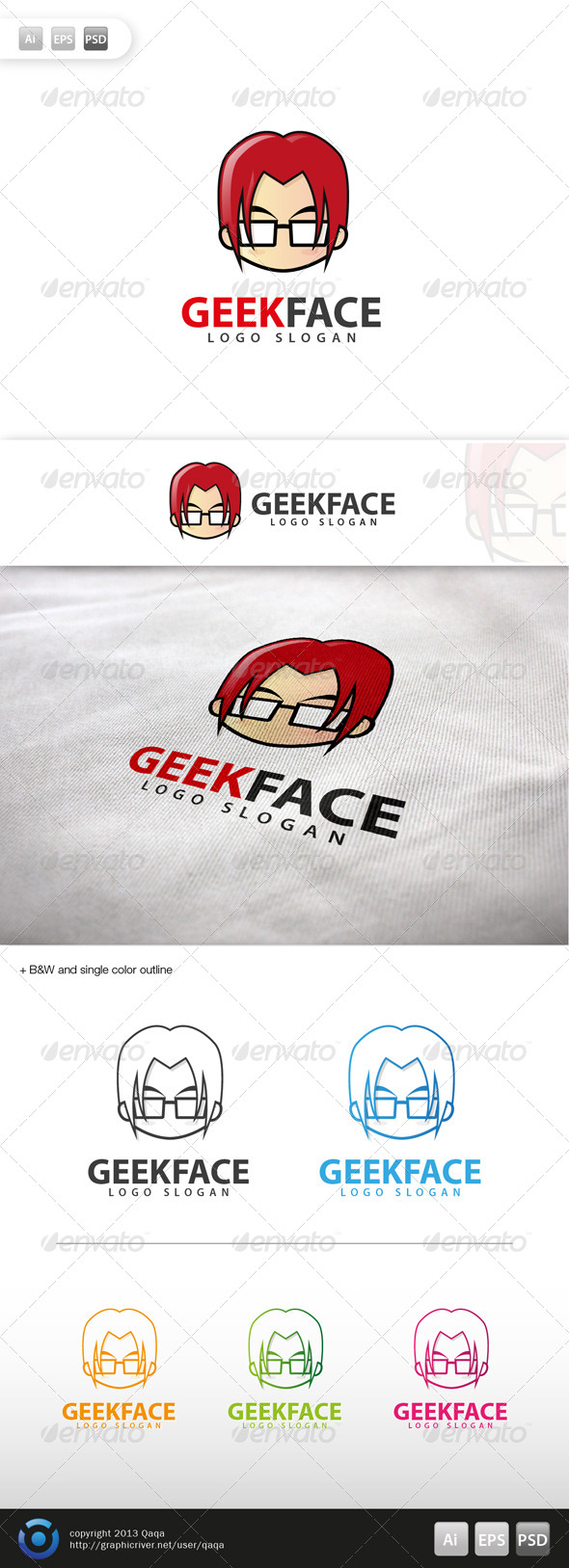 GraphicRiver Geek Face Logo 05 6002925