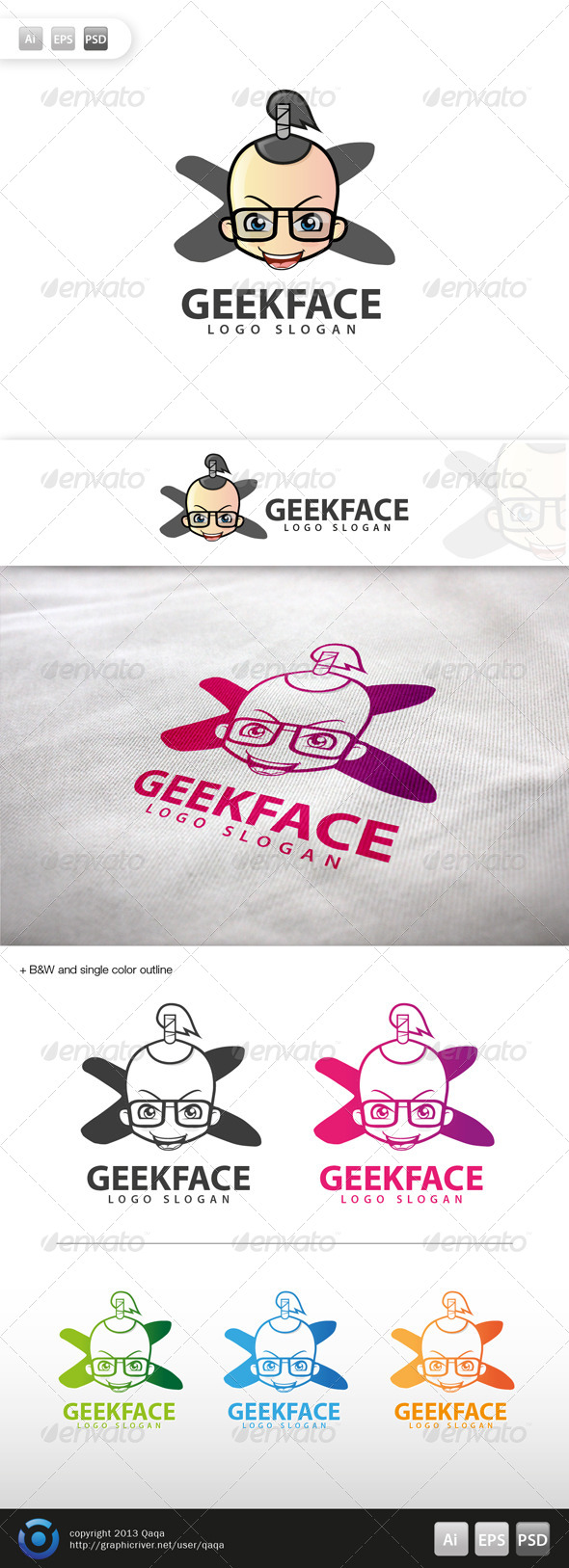 GraphicRiver Geek Face Logo 06 6003027