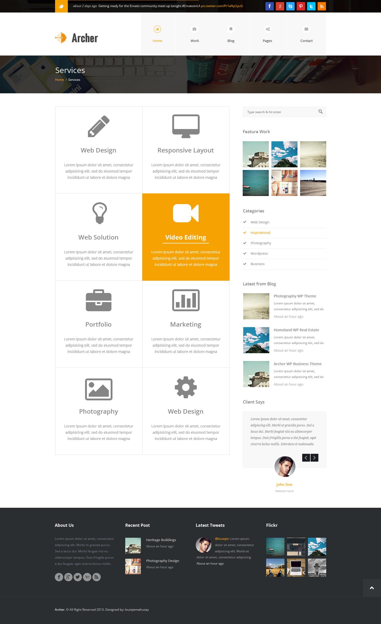 Archer - Business PSD Template -