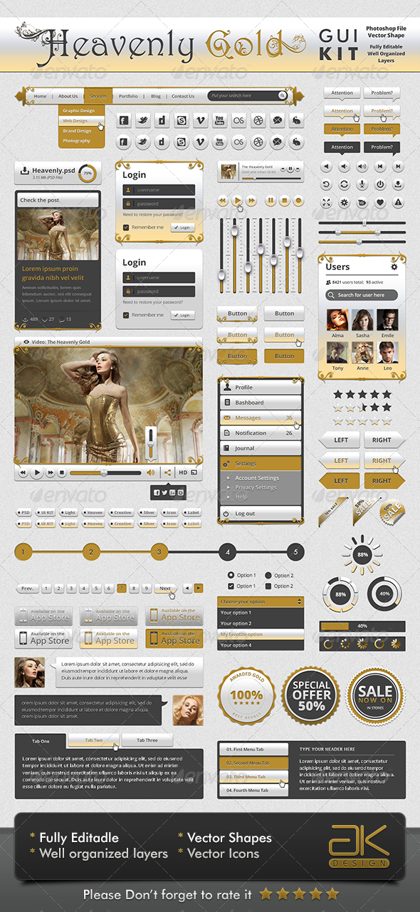 GraphicRiver Gold UI KIT 5982773