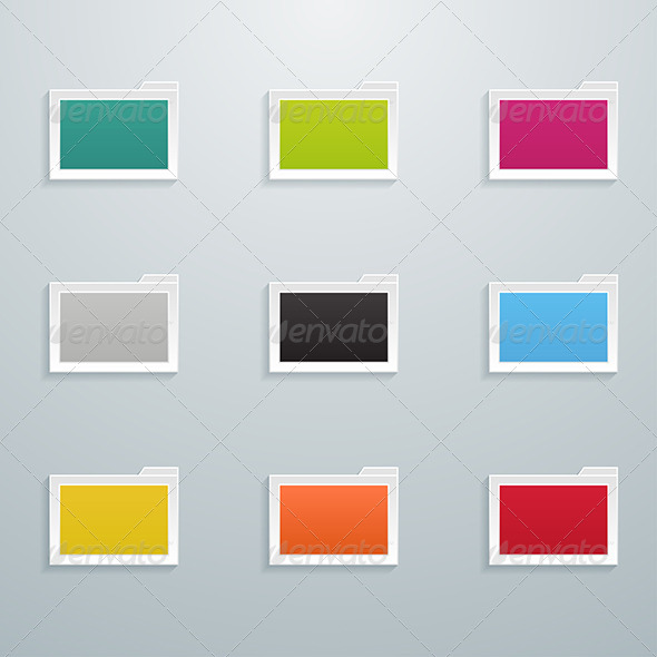 GraphicRiver Set of Colored Flat Folders 6004619