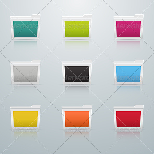 GraphicRiver Set of Colored Folders in Perspective 6004630