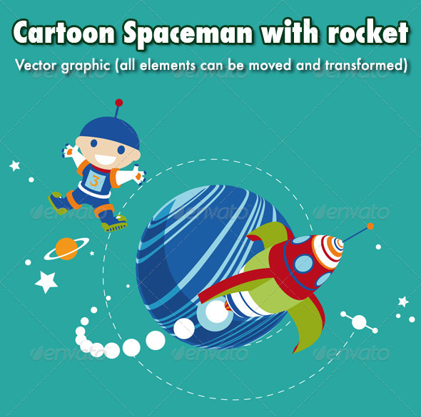 GraphicRiver Cartoon Spaceman with Rocket 5993346