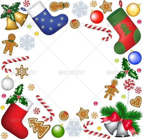 GraphicRiver Christmas Decoration and Sweets Frame 6004976