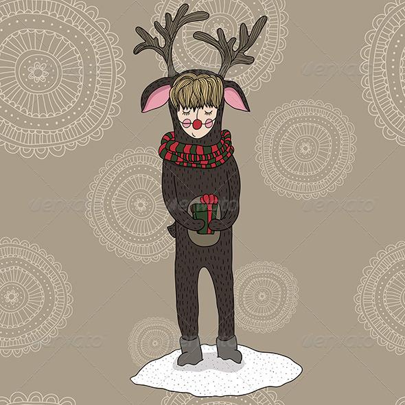 Girl in a Deer Costume