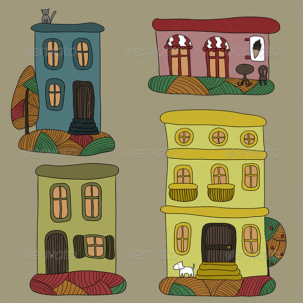 GraphicRiver Set of Autumn Houses 6005285