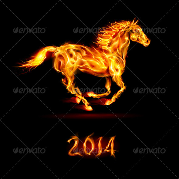 GraphicRiver New Year 2014 Fire Horse 6005655