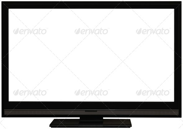 Flat wide TV screen cutout - Stock Photo - Images