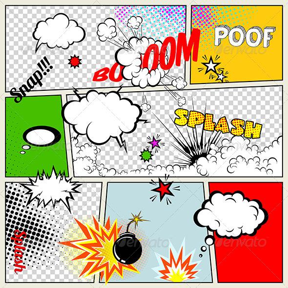 Grunge Retro Comic Speech Bubbles Graphicriver