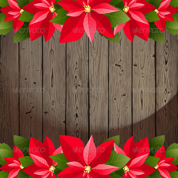 GraphicRiver Wooden Background with Poinsettia Borders 6006994