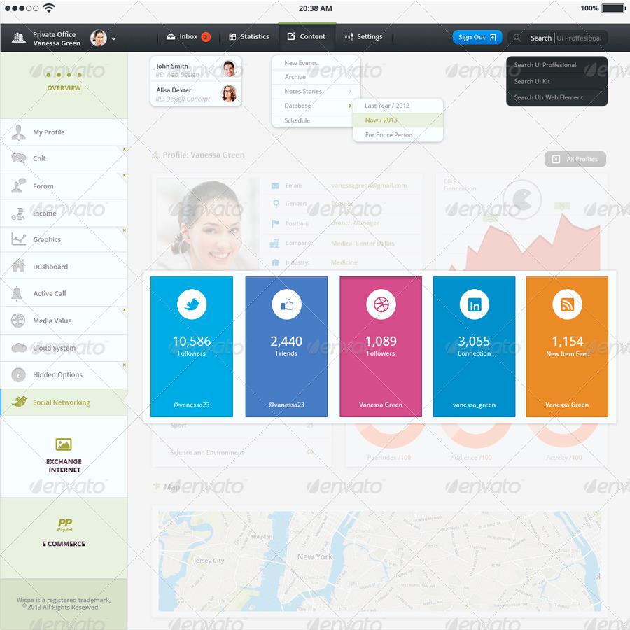 tablet app wisp admin panel by qo7 graphicriver. Black Bedroom Furniture Sets. Home Design Ideas