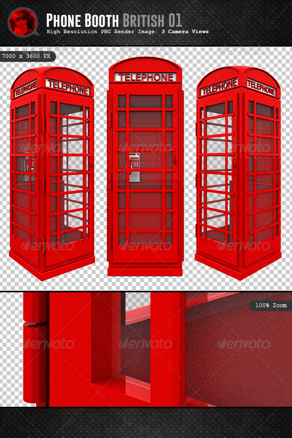 GraphicRiver British Phone Booth 3D 6008097