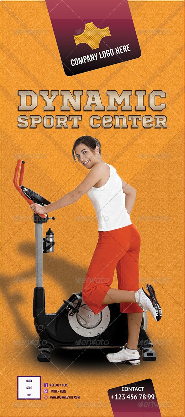 GraphicRiver Sport Center Roll-Up Banner PSD 5991427