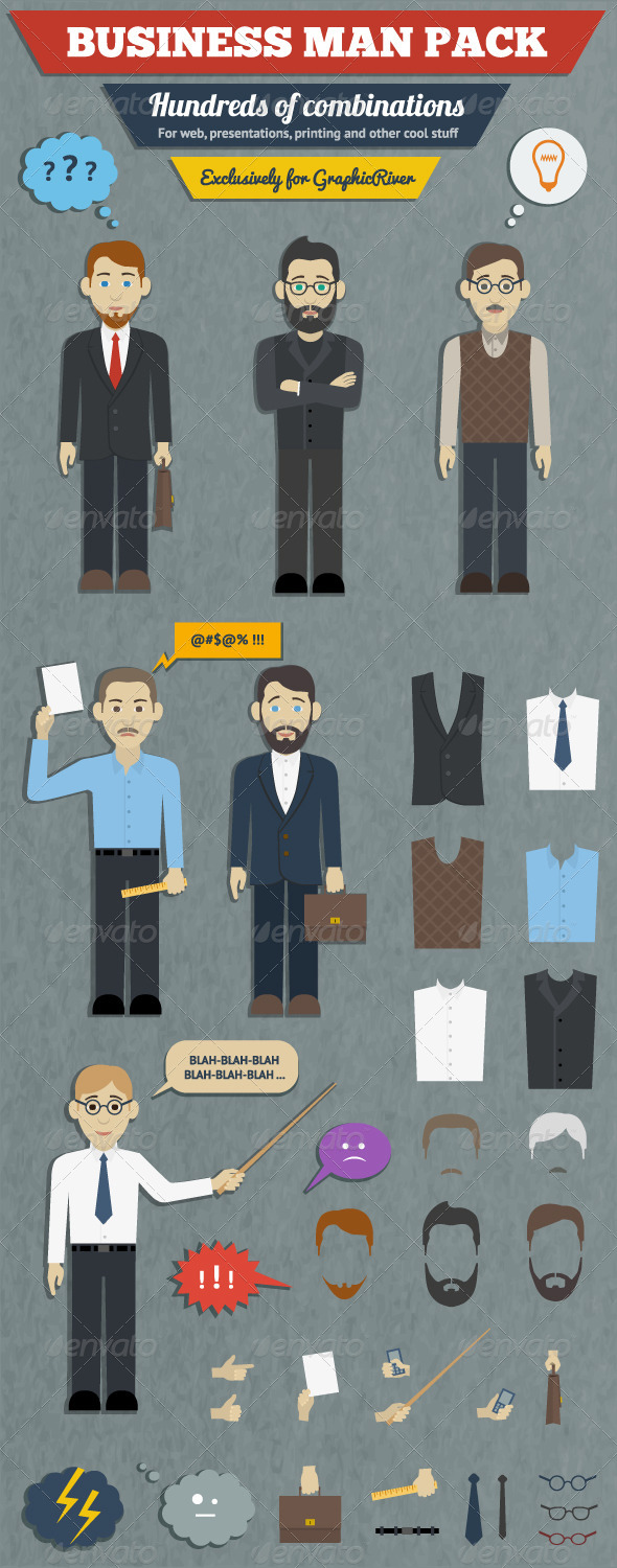 GraphicRiver Business Man Characters Pack 6008630