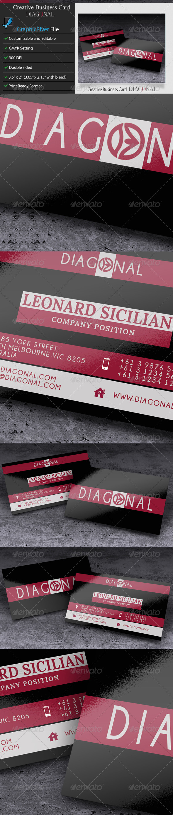 GraphicRiver Creative Business Card Diagonal 6008890