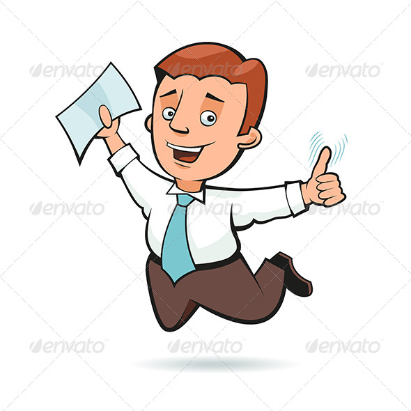 GraphicRiver Businessman Holding a Sheet of Paper and Jumping 6010457
