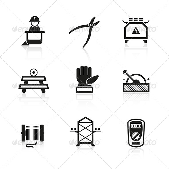 GraphicRiver Electrician Equipment Icons 6010570