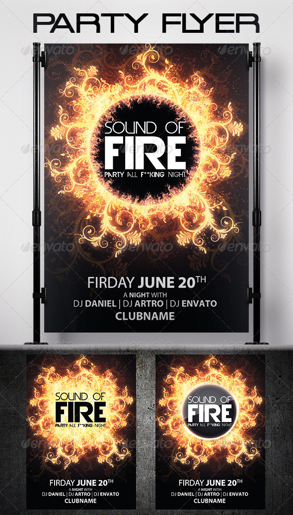 GraphicRiver Fire Party Flyer 5988689