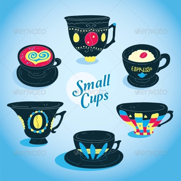 GraphicRiver Vector Elegant Small Cups Collection 6010797