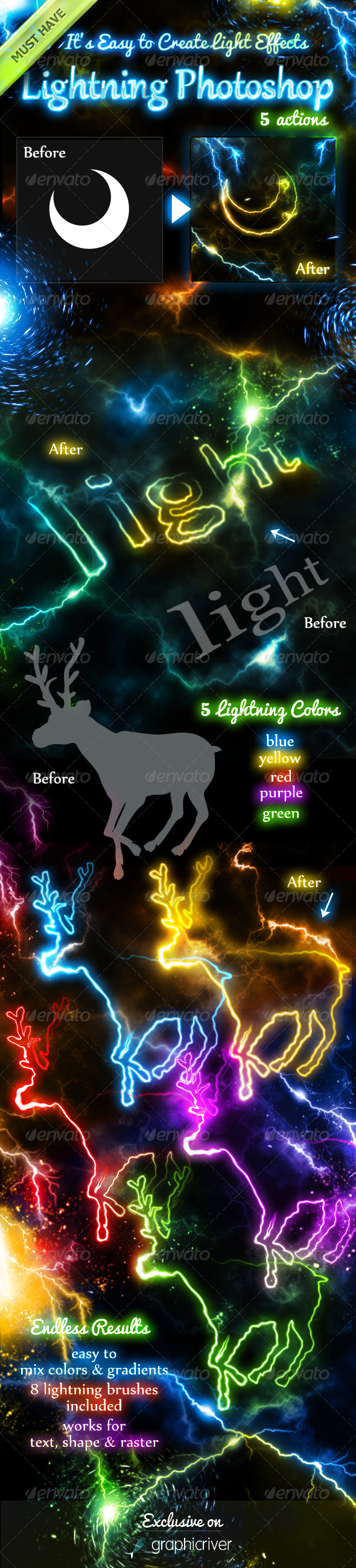 GraphicRiver Lightning Light Effects Photoshop Actions 6010897