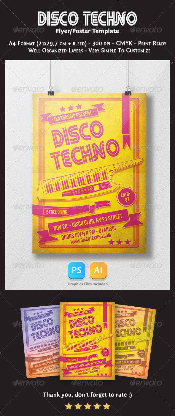 GraphicRiver Disco Techno Flyer Template 6010902