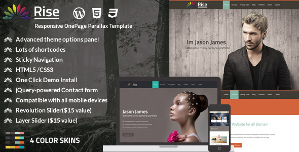 ThemeForest Rise One Page Responsive WP Portfolio 6011066