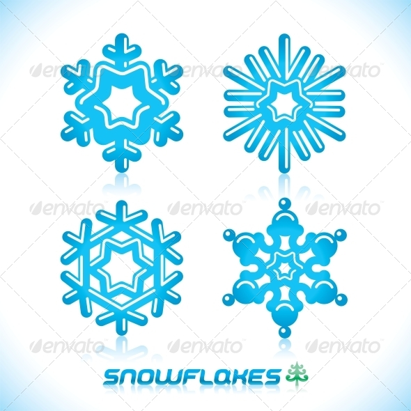 GraphicRiver Blue Snowflakes Illustration 6011381