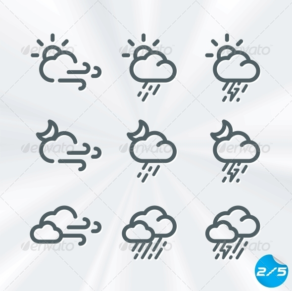GraphicRiver Vector Weather Icons Collection 6011714