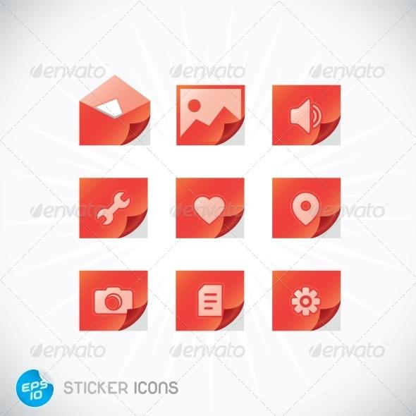 GraphicRiver Sticker Icons 6012375