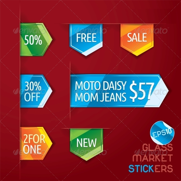 GraphicRiver Glass Market Stickers 6012429