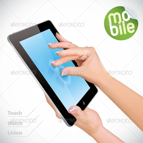 GraphicRiver Hand Holding Tablet Pad 6012499